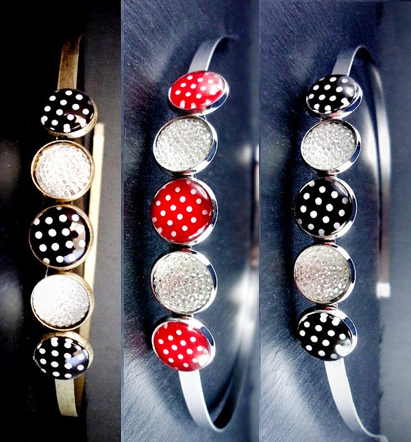 Haarreif mit Punkte-Design, dots, Retro-Look