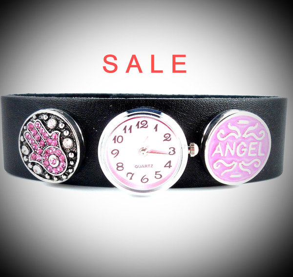 Armbanduhr mit Buttons, Leder, Angel - SALE