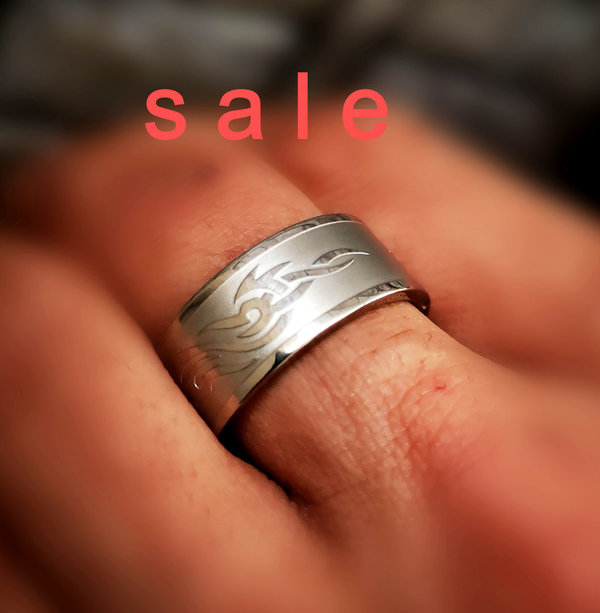Massiver Ring, Edelstahlring, Herrenring, Tribal - SALE