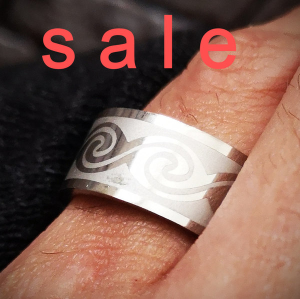 Massiver Ring, Edelstahlring, Männerring, Tribal - SALE